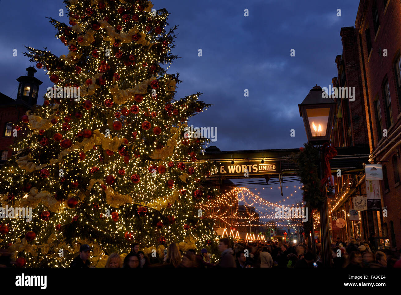Crowds at historic Distillery District Toronto Christmas Market with decorated outdoor tree at dusk Stock Photo