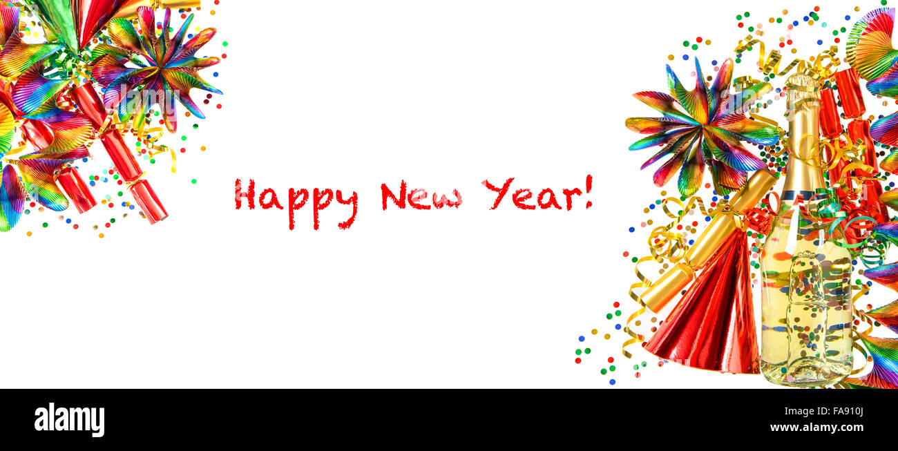 new years party decoration holidays banner multicolored champagne garlands serpentine and confetti on white background
