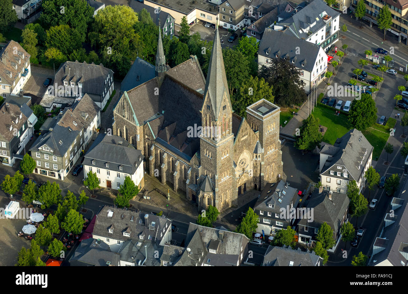 Downtown Olpe on the marketplace with St.Martinus Church, Olpe, Olpe, Sauerland, South Westphalia, North Rhine Westphalia, Stock Photo