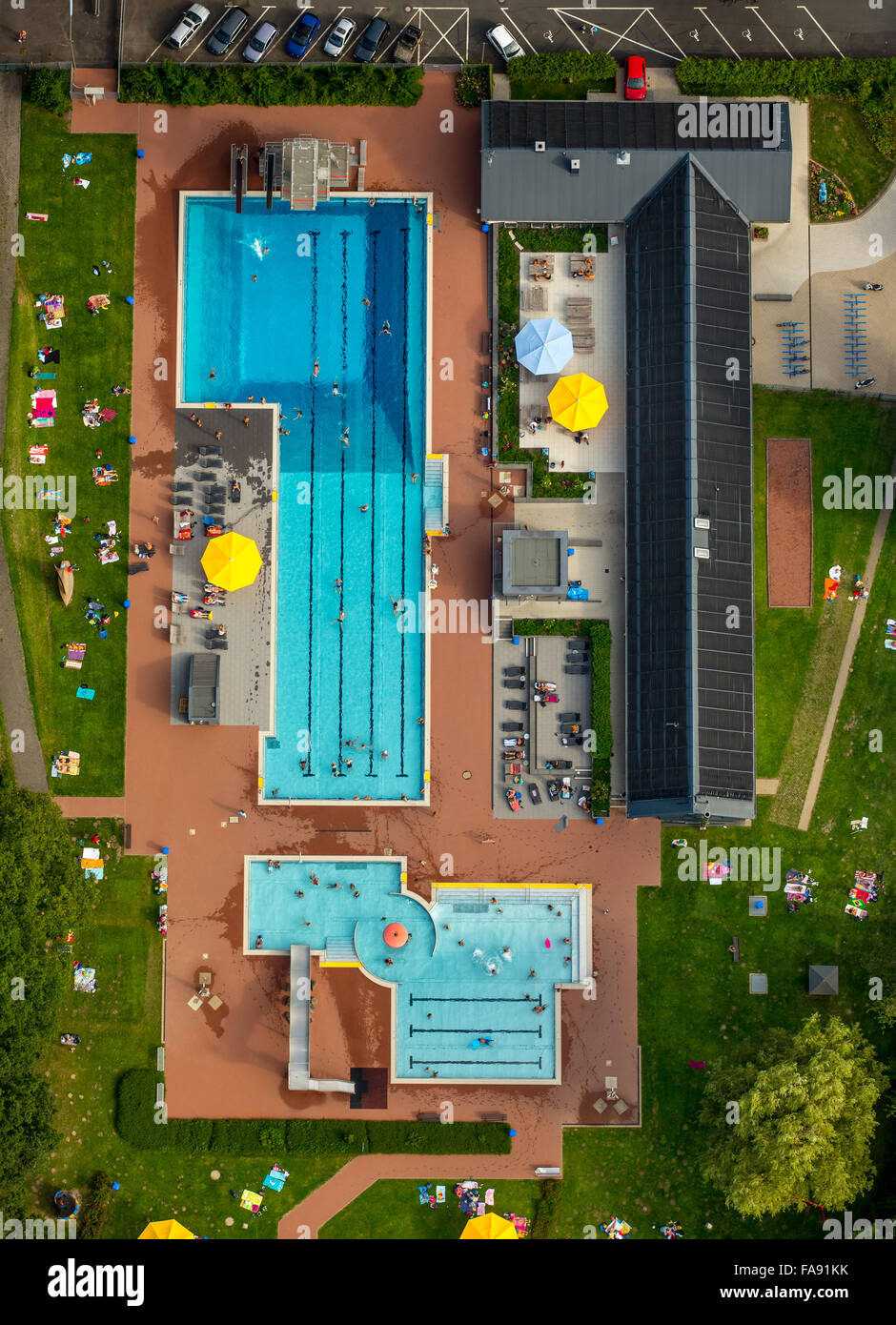 Swimmer's pool, parasols, Perpendicular Recording, Hot Water Outdoor Geisweid, Siegen, Siegerland, South Westphalia, - Stock Image