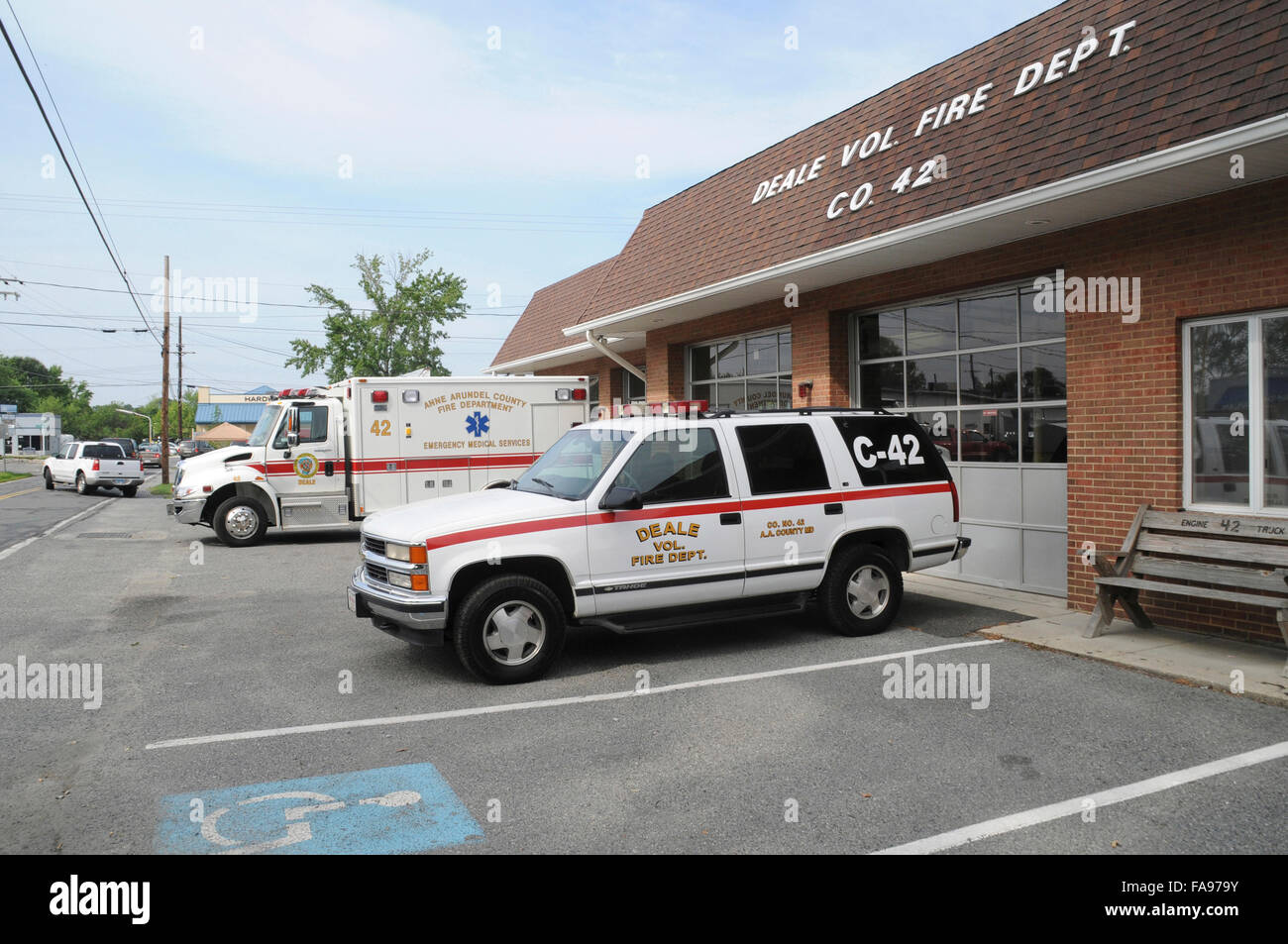 The Deale Volunteer Fire Department in Deale, Maryland - Stock Image