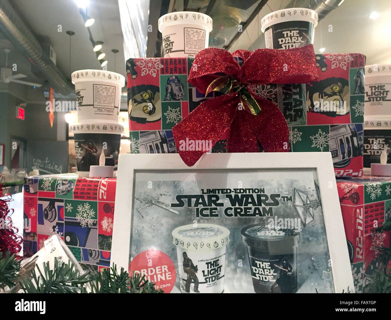 "New York, USA. 17th Dec, 2015. ""Star Wars"" ice cream pictured at the ""Ample Hills Creamery"" ice cream parlour in Stock Photo"
