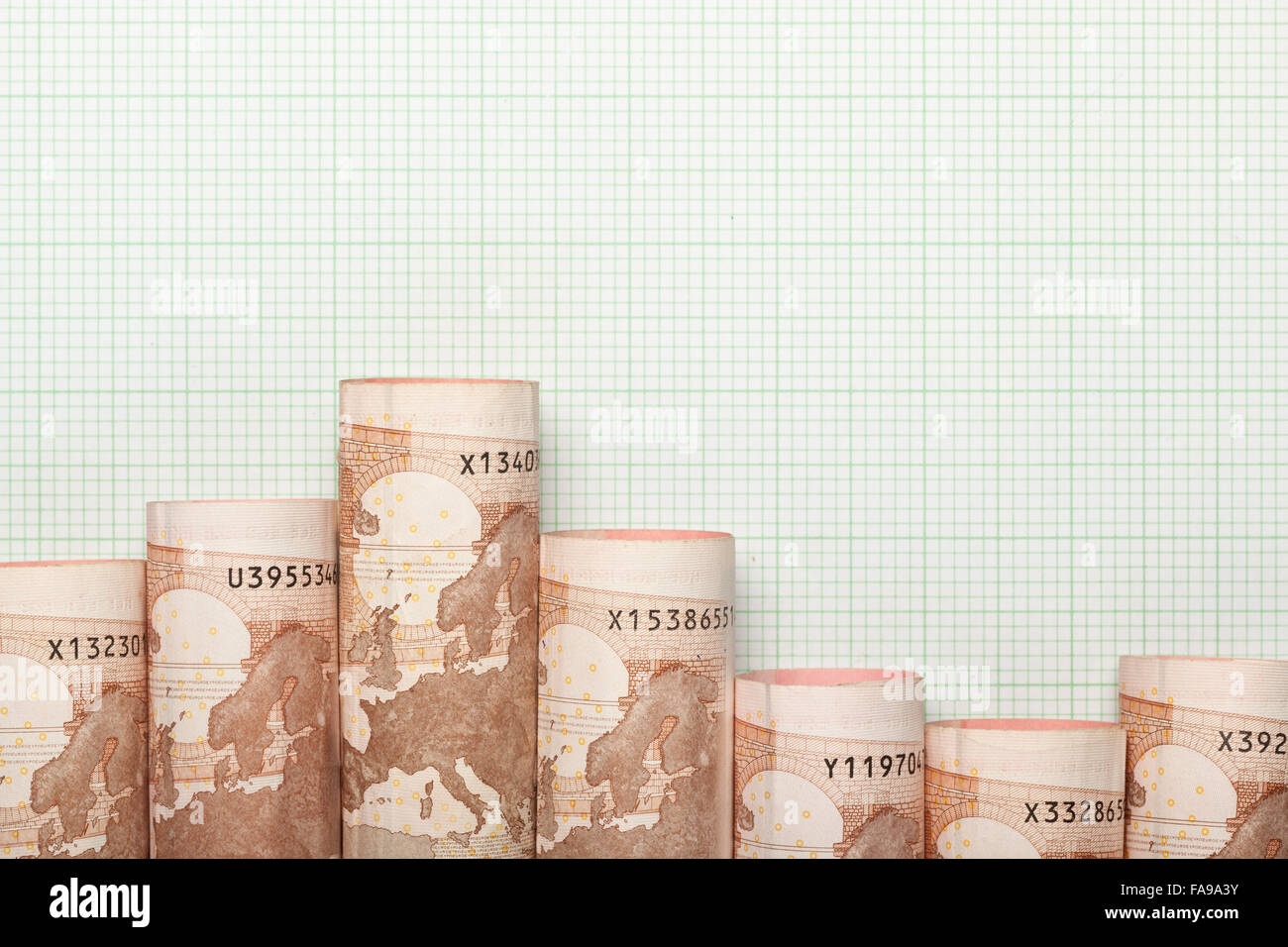 Euro currency forming a downtrend graph - Stock Image