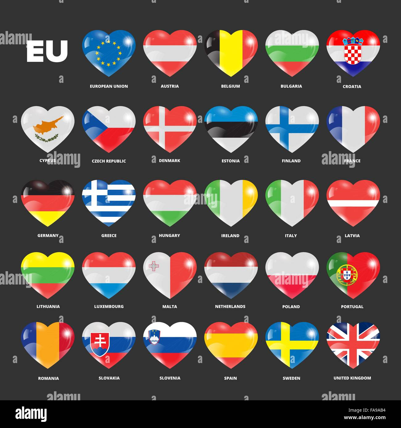 European Union flags in hearts set for using with dark backgrounds - Stock Image