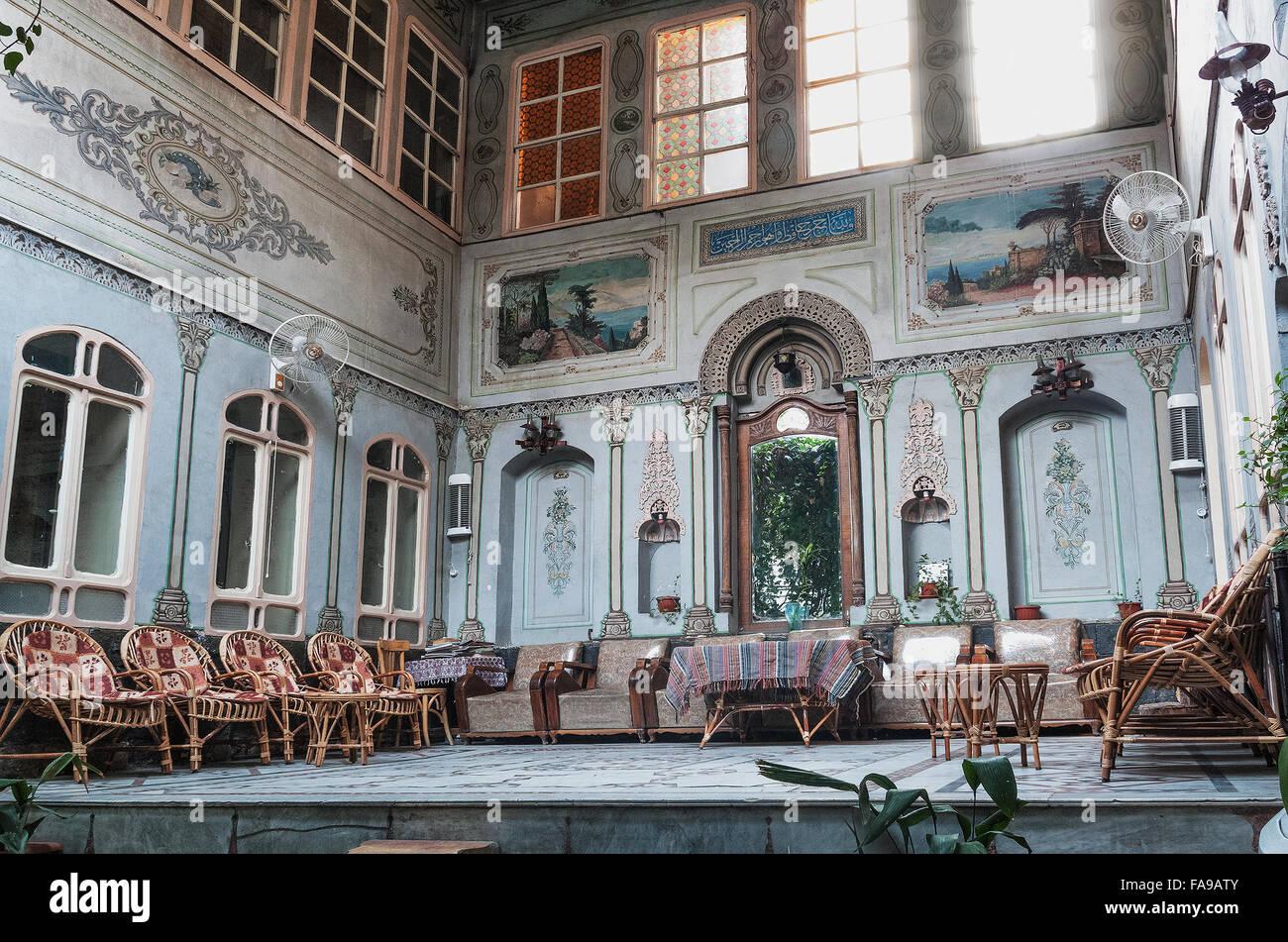 famous al rabie hotel lobby classic interior in damascus syria - Stock Image