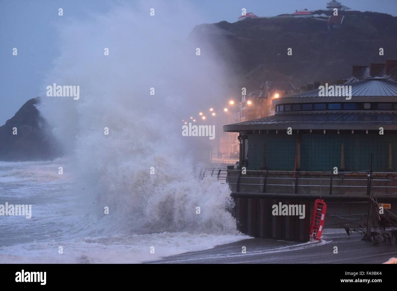 Aberystwyth Wales UK,  Christmas Eve, Thursday 24 December 2015  At first light and just after high tide, the winds - Stock Image