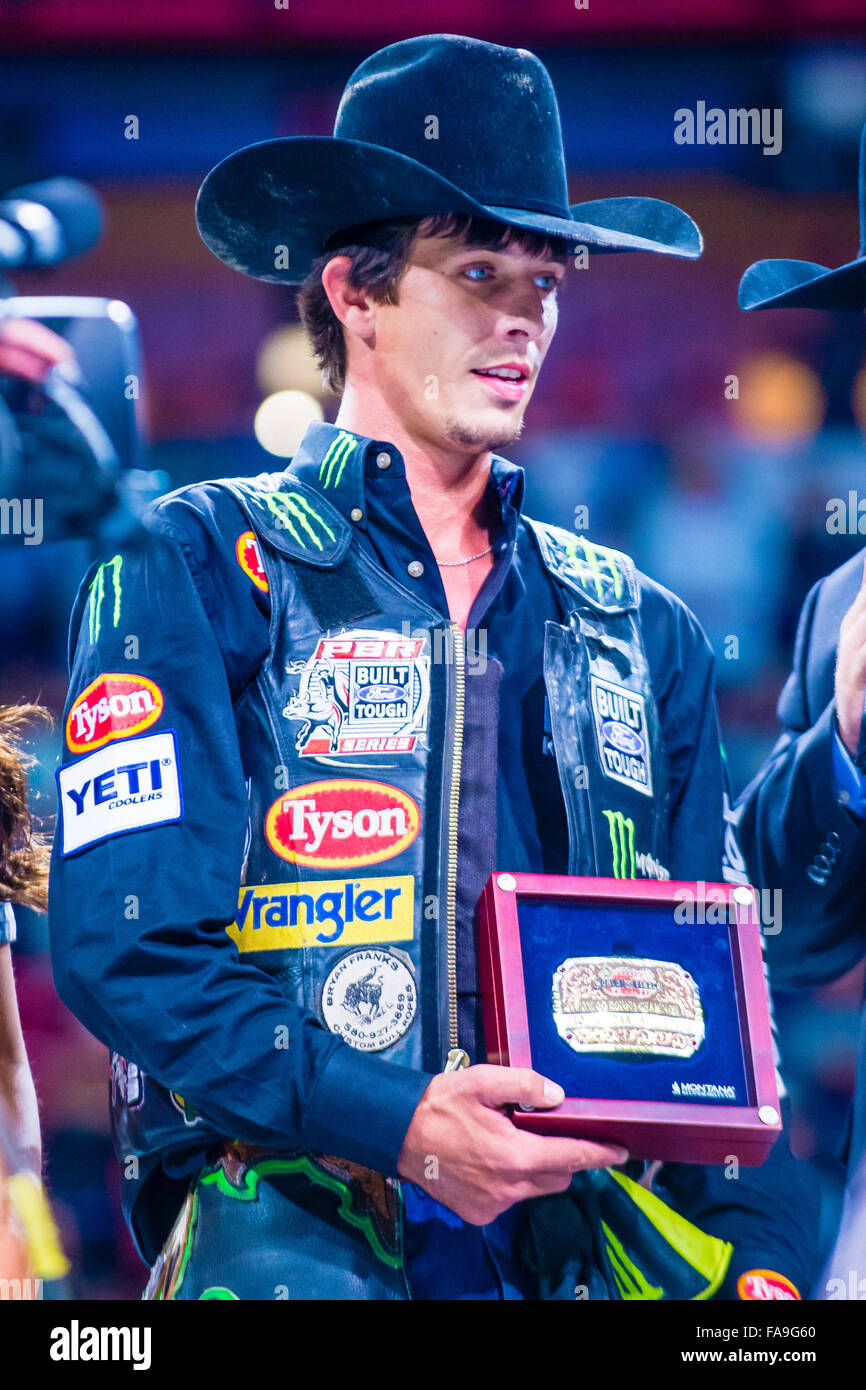 J.B. Mauney Being interviewed on stage after winning the PBR bull riding  world finals. - 04ed84086a8