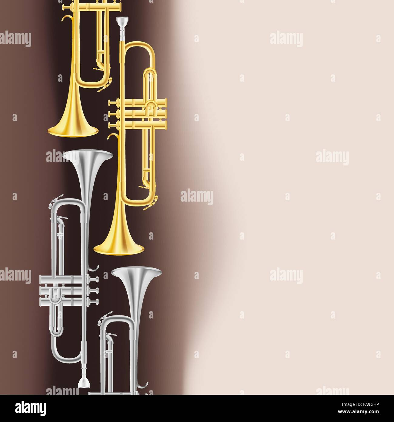 polished brass trumpet background. vector - Stock Vector