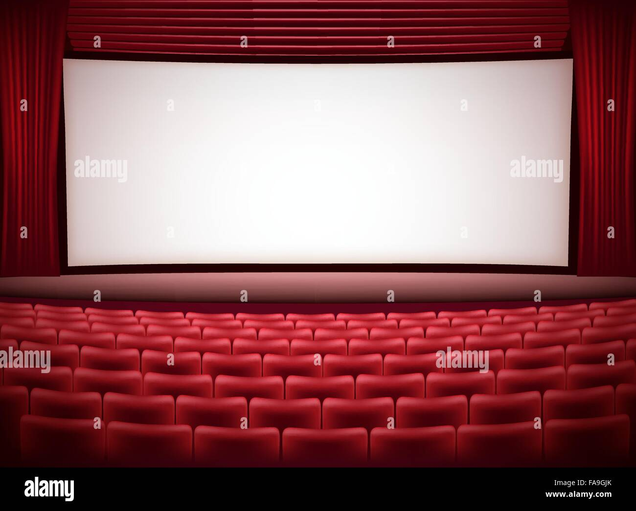 cinema theater horizontal background with red seats and red curtains - Stock Vector
