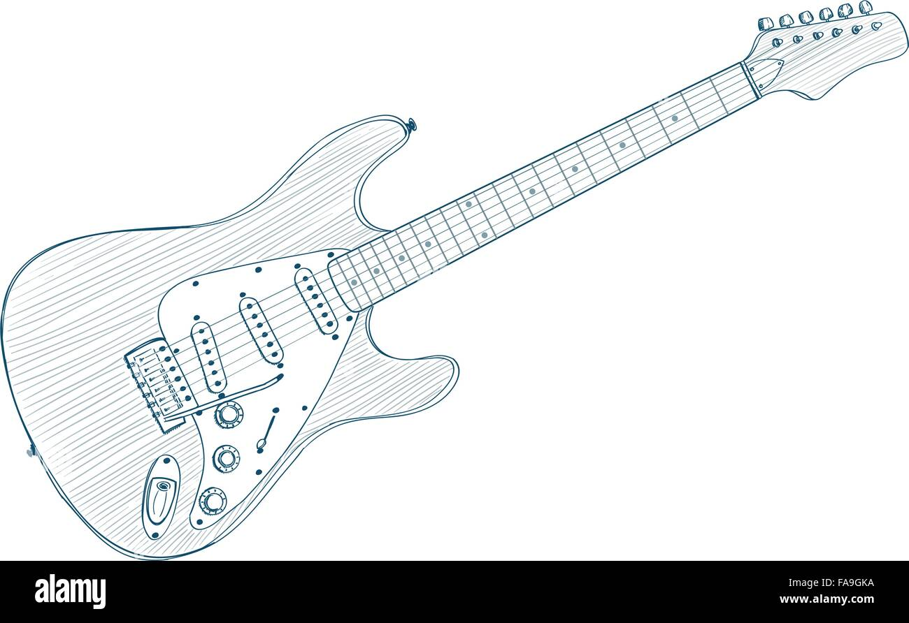 Electric Guitar Drawing On White Line Art Illustration Stock Vector
