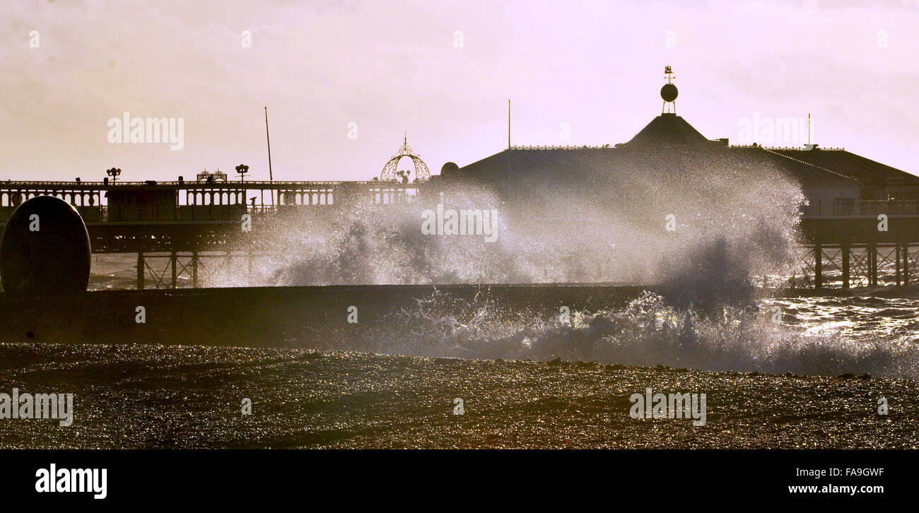 Brighton Sussex UK 24th December 2015 - Waves crash in on Brighton beach as Storm Eva hits Britain with gales and - Stock Image
