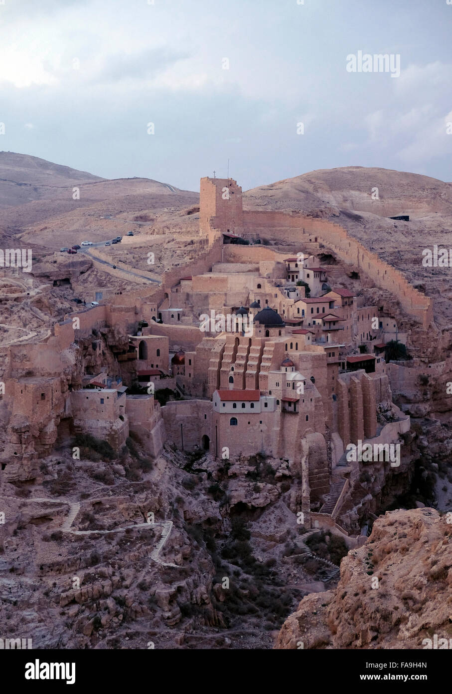 View of the Greek Orthodox monastery of Saint Sabbas the Sanctified known in Arabic as Mar Saba in the Judaean or - Stock Image