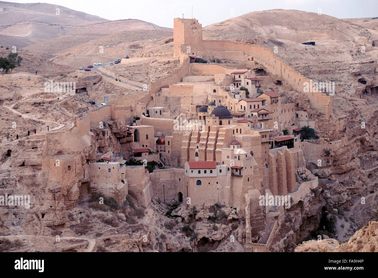 View of the Greek Orthodox monastery of the Holy Lavra of Saint Sabbas, known in Syriac as Mar Saba in the Judaean Stock Photo