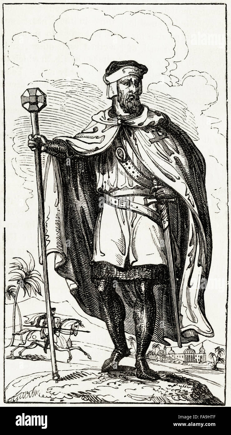 Illustration of a Knights Templar of the 12th Century. Victorian woodcut engraving circa 1845. - Stock Image