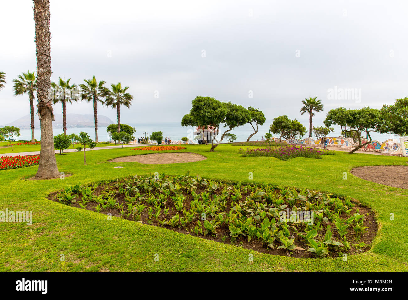 Upscale hotel and Inviting Courtyard and garden on lake Titikaka, Peru in South America - Stock Image