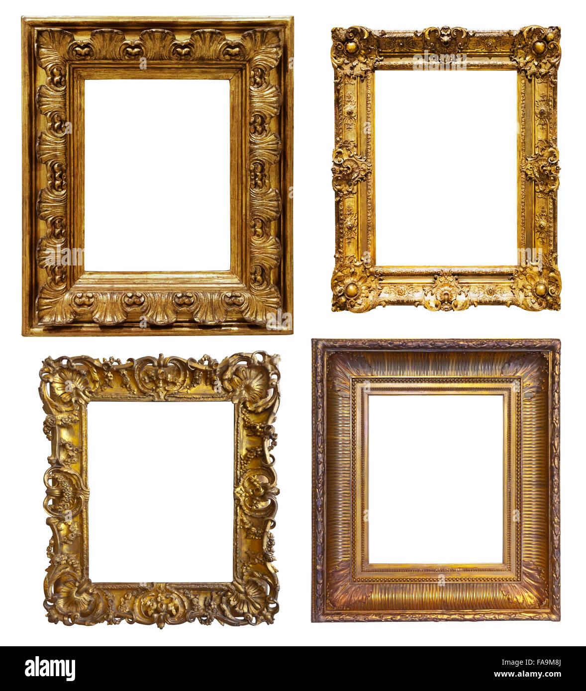 a9404ae9b0e Set Of Old Gold Frames Isolated Over White Background May Be Used