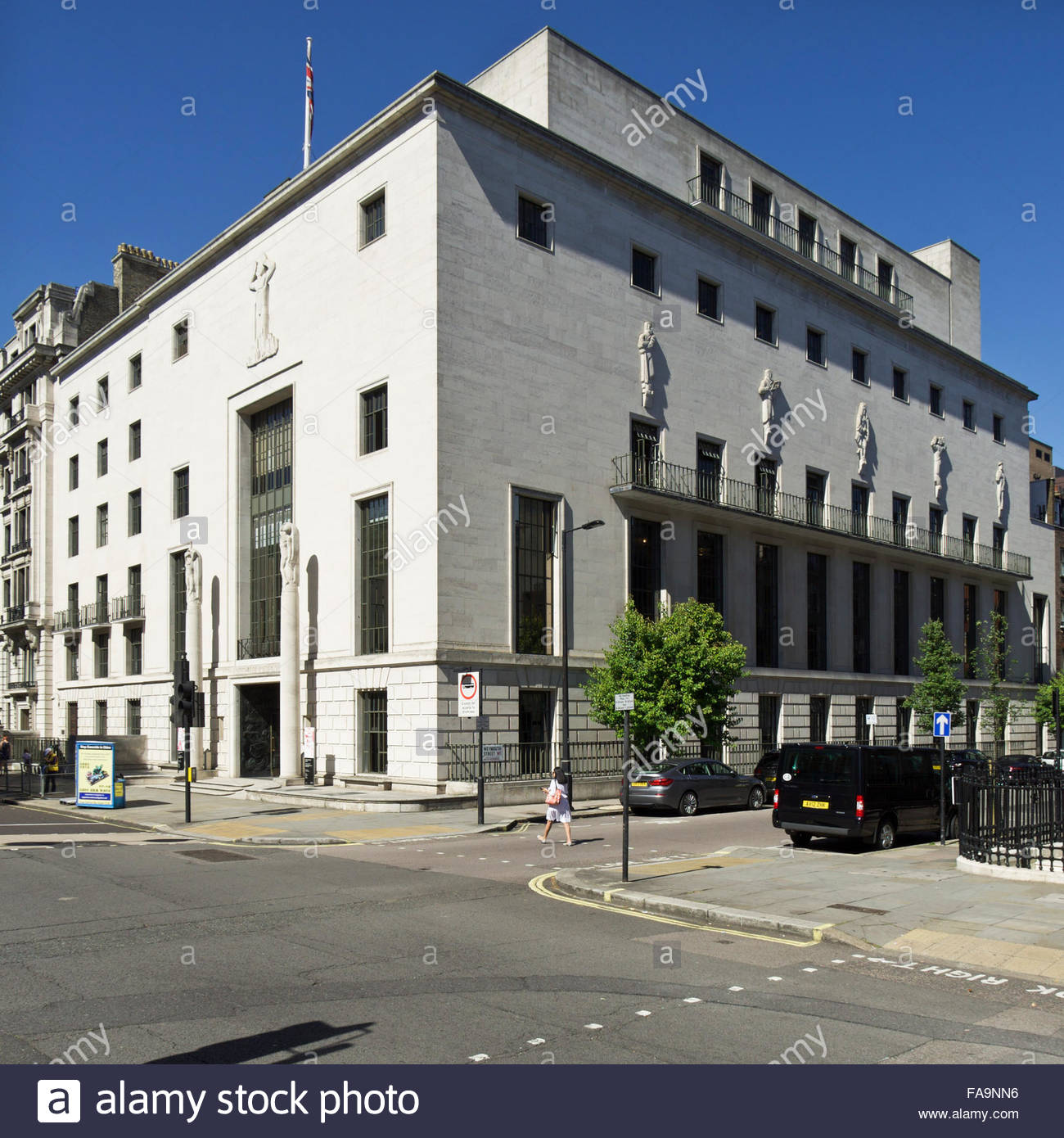 Corner elevation of 66 Portland Place, the Royal Institute of British Architects building: London. - Stock Image