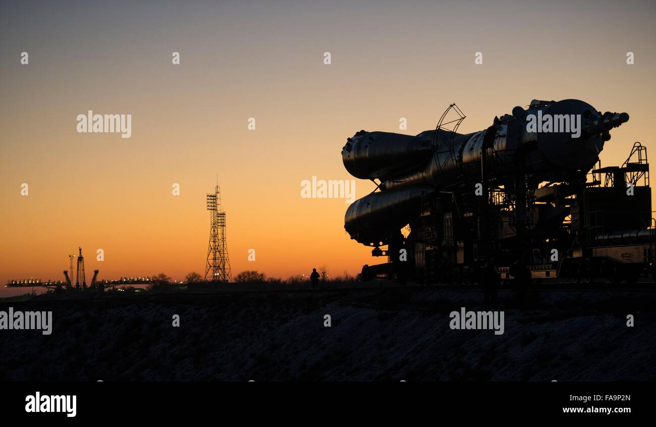 The Soyuz TMA-19M spacecraft is rolled out to the launch pad by train at sunrise December 13, 2015 in Baikonur, - Stock Image