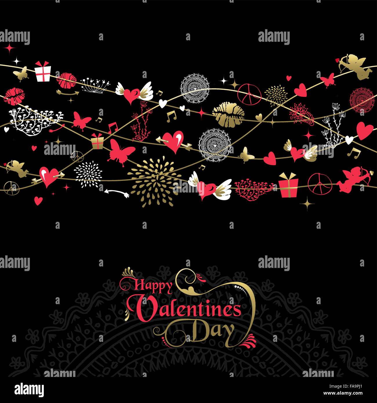Happy valentines day greeting card background design vintage style happy valentines day greeting card background design vintage style icon decoration with text label in gold and pink eps10 m4hsunfo