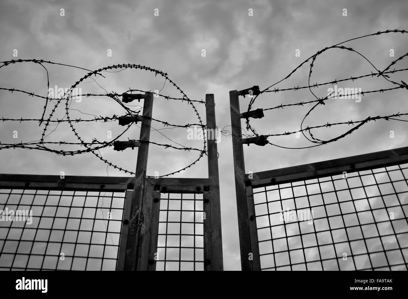 Barbed wire fence and metal gate - Stock Image