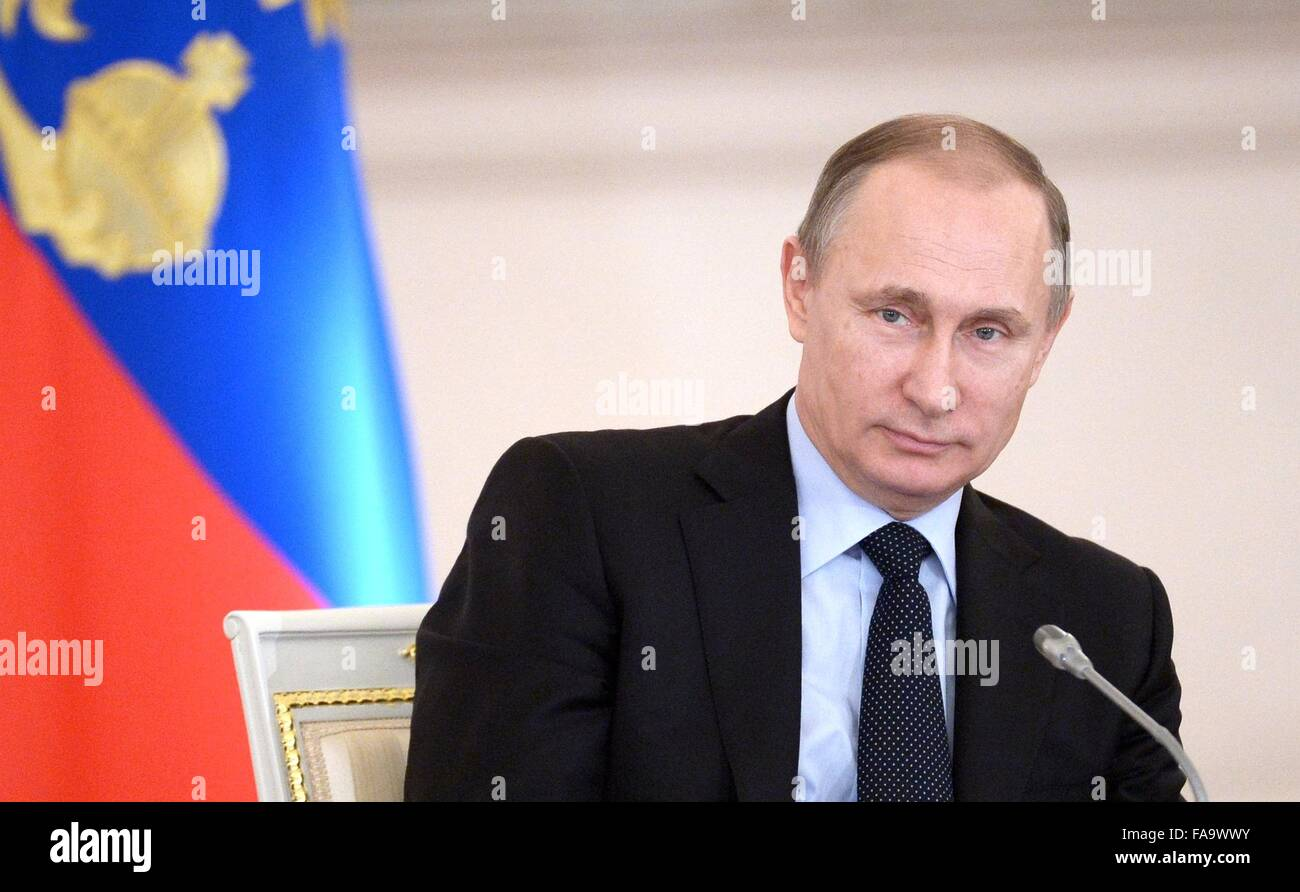 Russian President Vladimir Putin at a meeting of the State Council on improvement of general education at the Kremlin - Stock Image