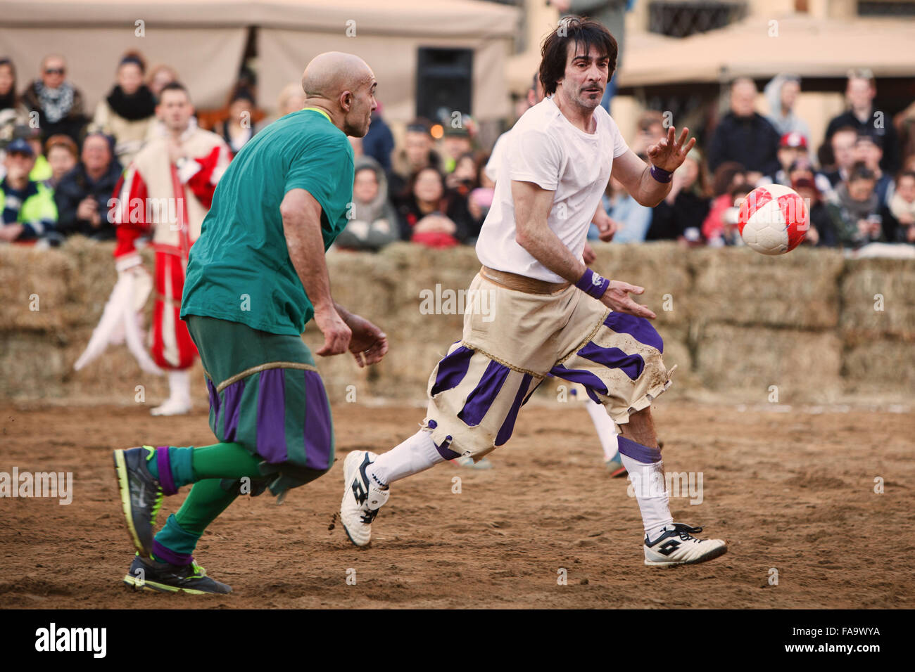 Calcio Storico Fiorentino (Historic Florentine Football )match between Whites (Bianchi) and Greens (Verdi) - Stock Image