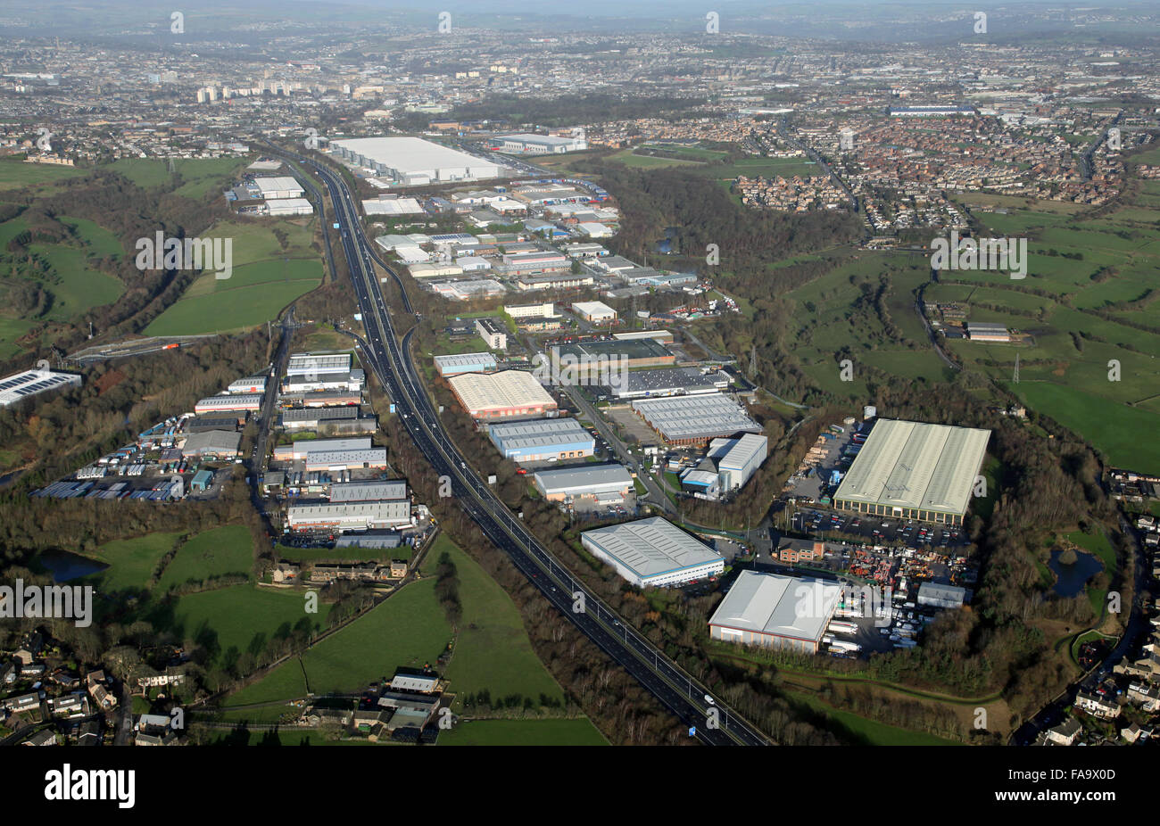 aerial view of Euroway Trading Estate, M606, Bradford, West Yorkshire, UK - Stock Image