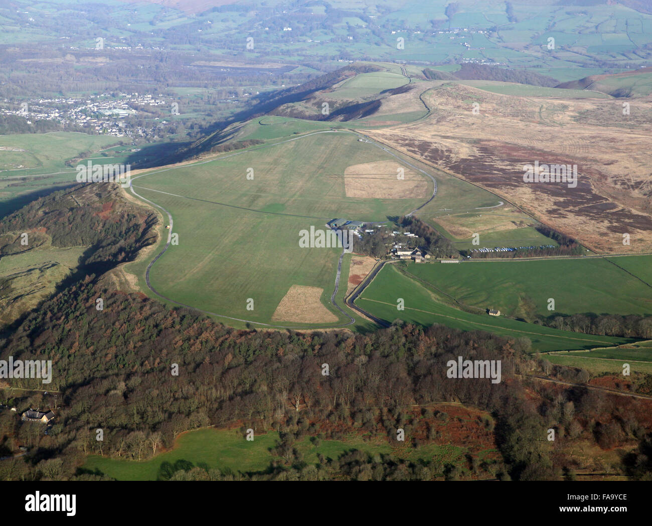 aerial view of Camphill gliding site near Buxton, Derbyshire, UK - Stock Image