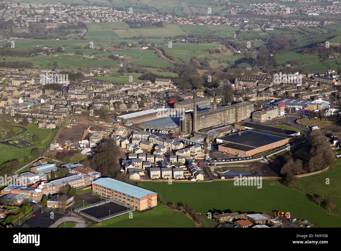 aerial view of Blackdyke Mills at Queensbury, Bradford, West Yorkshire, UK - Stock Image