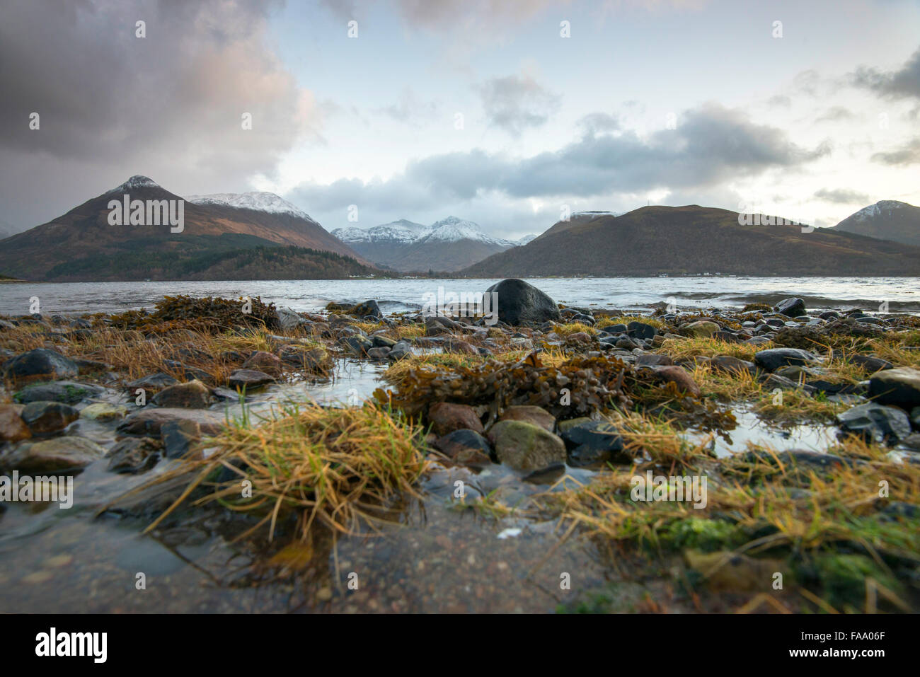 The beach at Loch Leven in North Ballachulish in Scotland, UK - Stock Image