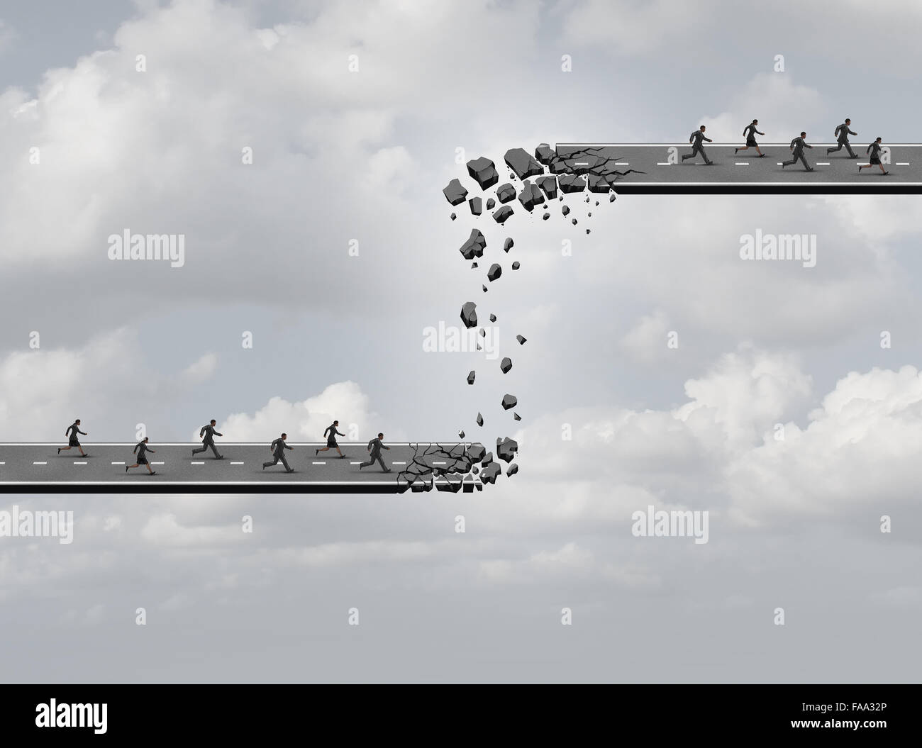 Business relocation concept as a road breaking apart with the broken pieces creating a new highway of opportunity - Stock Image