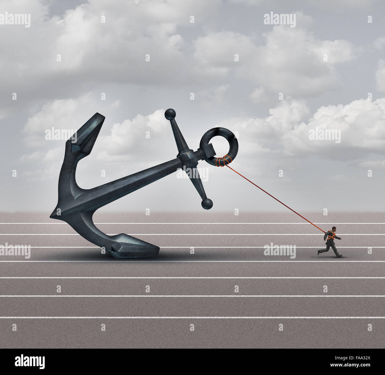 Career burden and business stress concept as a businessman or worker pulling a giant heavy metal anchor as a metaphor - Stock Image