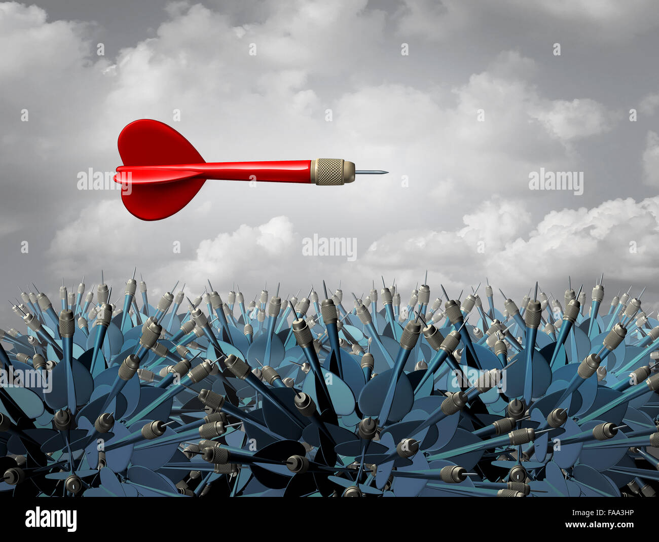 Individuality strategy symbol or independent thinker idea and new leadership concept or individual metaphor as a - Stock Image