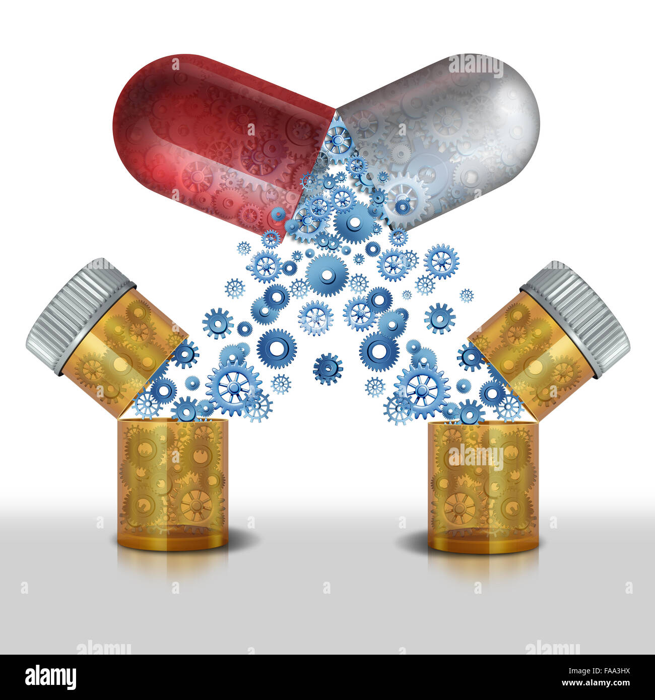 Medicine interaction and multipurpose drug or safety concerns of combining pharmaceutical drug or medicinal supplements - Stock Image