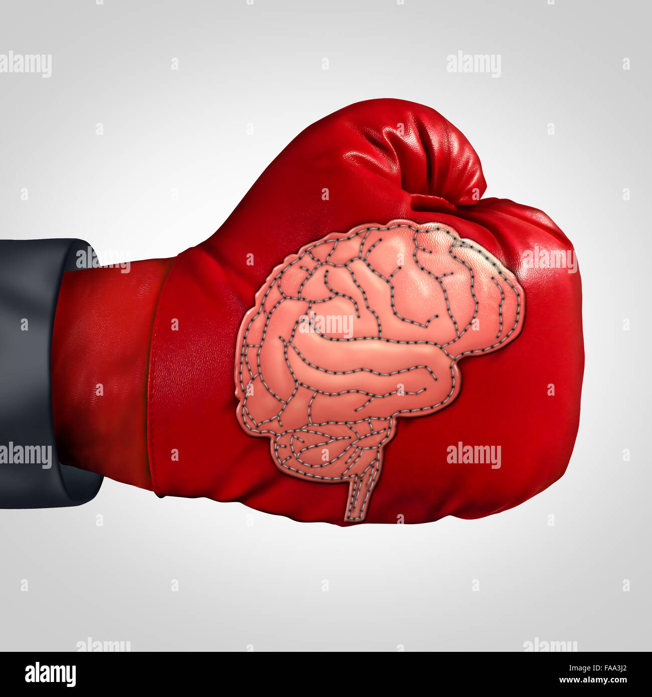 Strong brain activity and training the mind to perform in intelligence and memory as a boxing glove with a patch Stock Photo