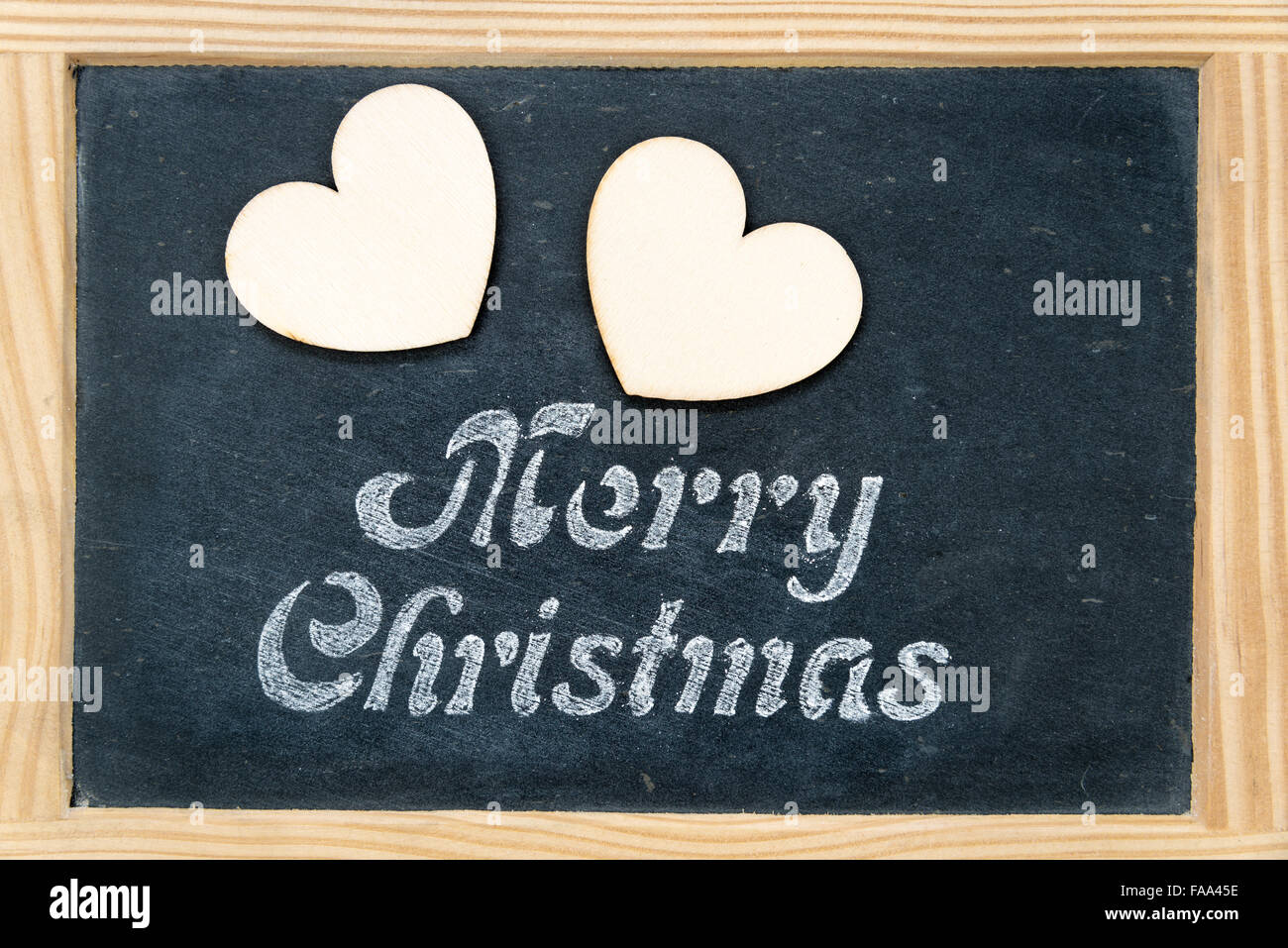 Wooden frame vintage chalkboard with Merry Christmas message and two ...