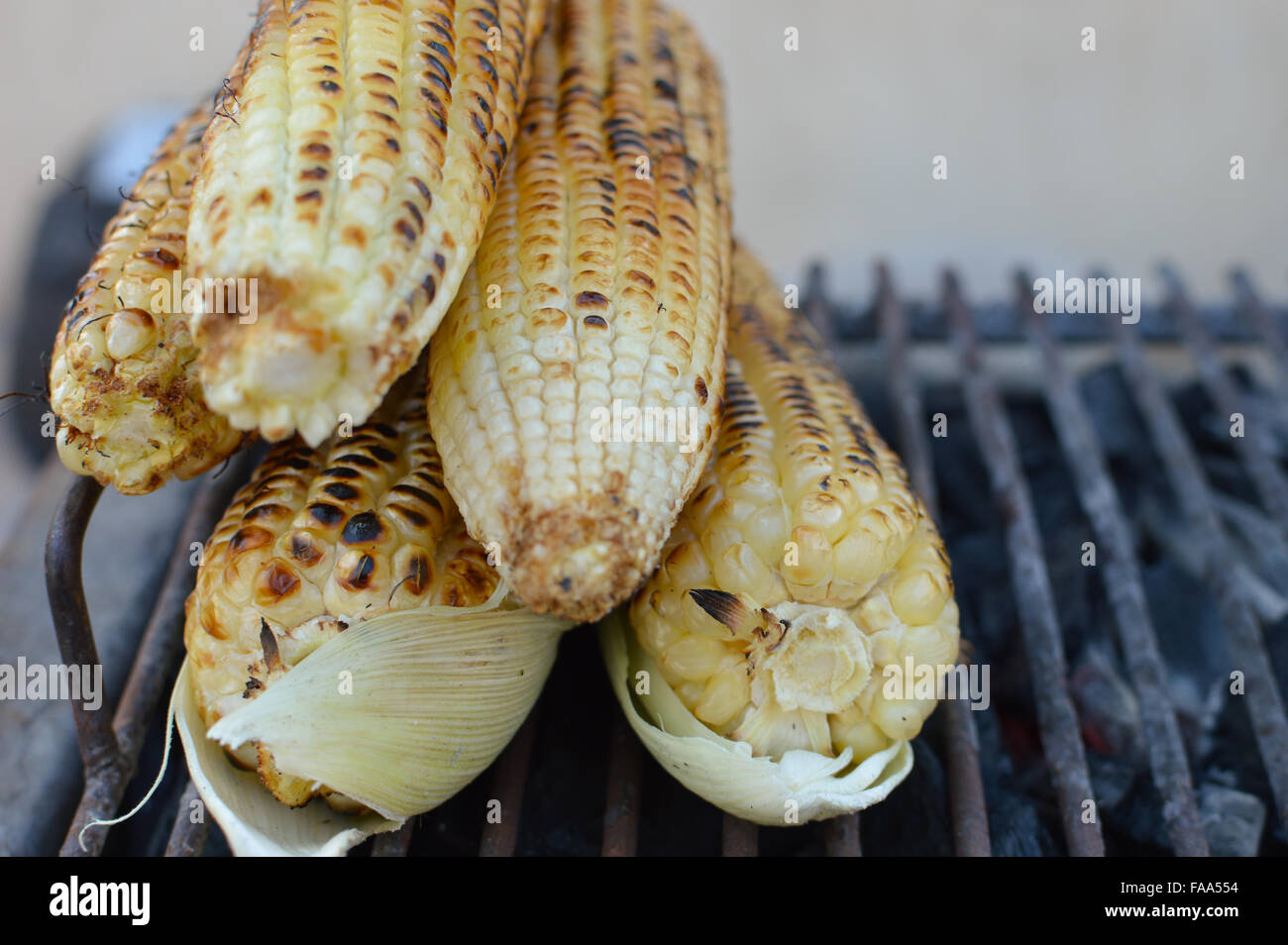Grilled corn sold on the street of Copan Ruinas town in Honduras - Stock Image