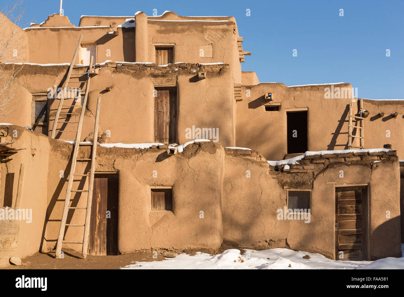 Ancient Adobe Homes In The Ancient Native American Taos Pueblo Stock