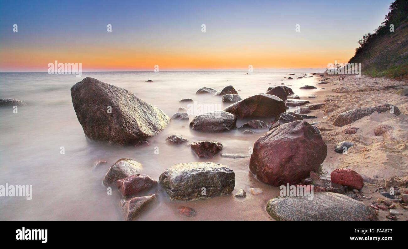 Baltic Sea shore before sunrise, Pomerania, Poland - Stock Image