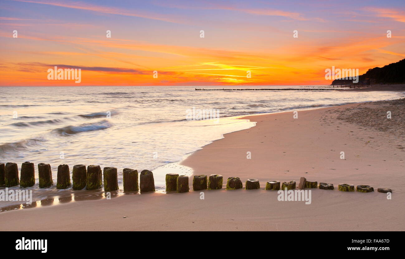 Sunset landscape at Baltic Sea, Pomerania, Poland Stock Photo