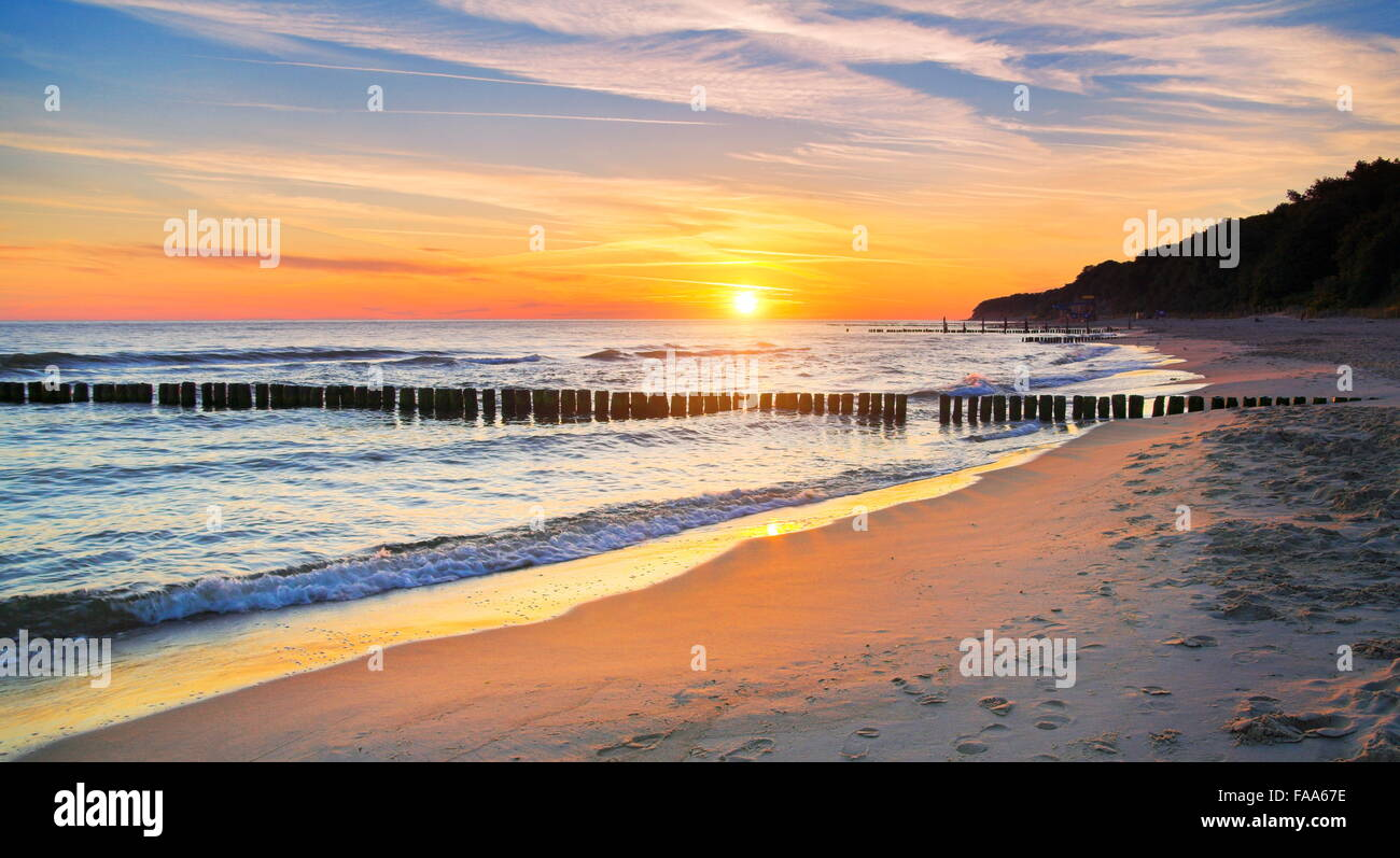 Baltic Sea landscape at sunset, Pomerania, Poland Stock Photo