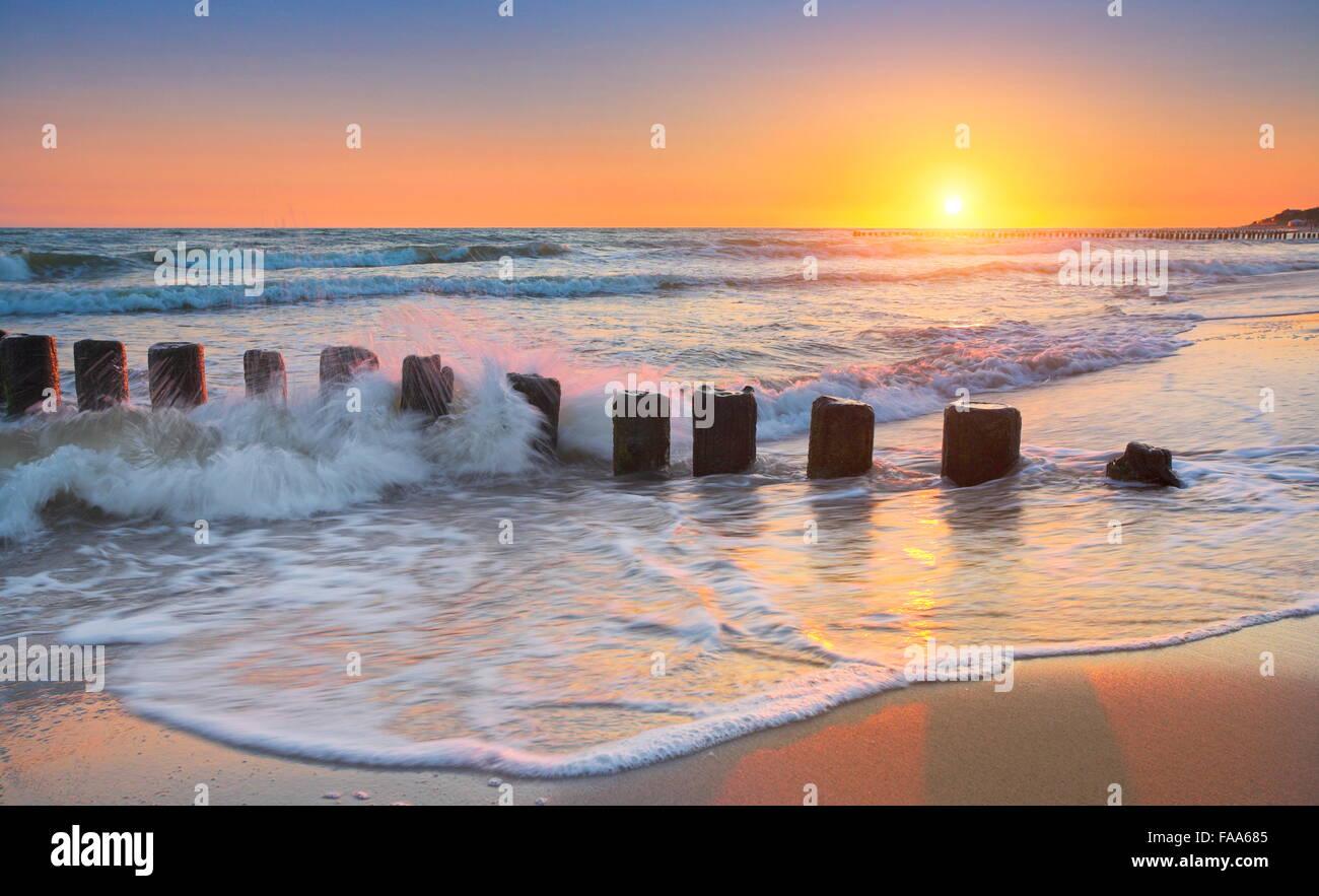 Baltic Sea at sunset, Pomerania, Poland - Stock Image