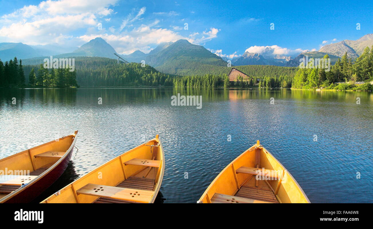 Szczyrbske pleso lake Tatra Mountains, Slovakia - Stock Image