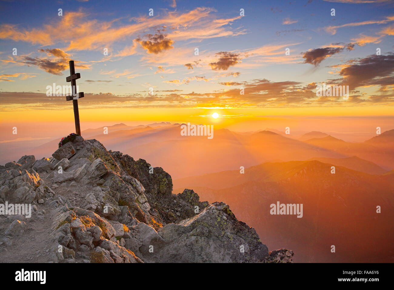 Krywan Peak at sunset, Tatra Mountains, Slovakia - Stock Image