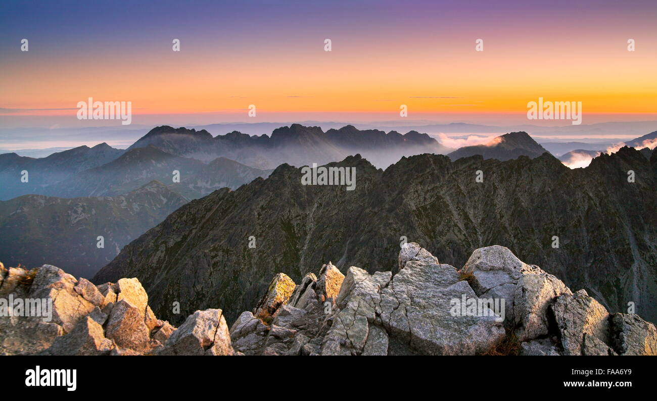 View at surise from Krywan peak, Slovakia - Stock Image
