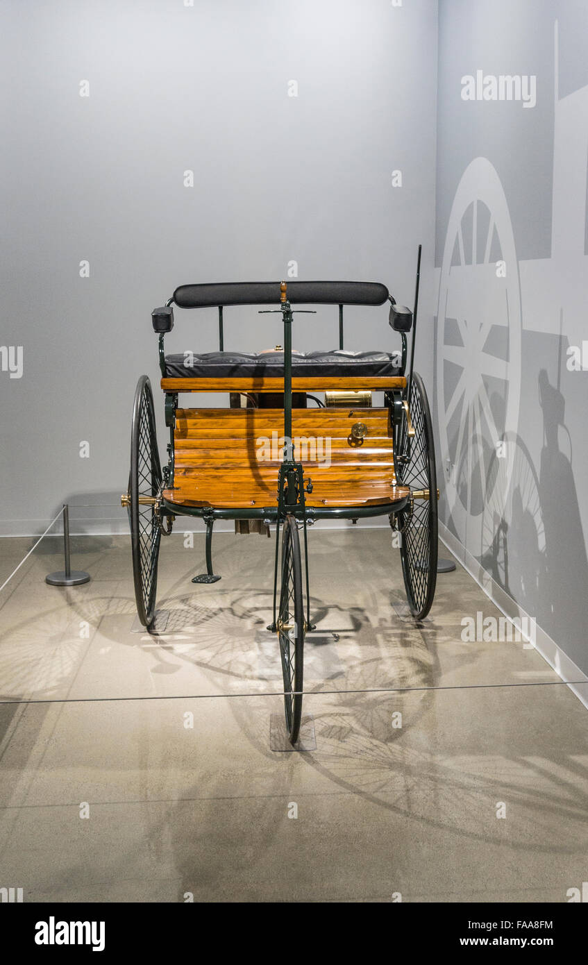 The 1886 Benz Patent-Motorwagen was the first practical car and is on display at the Petersen Automotive Museum - Stock Image