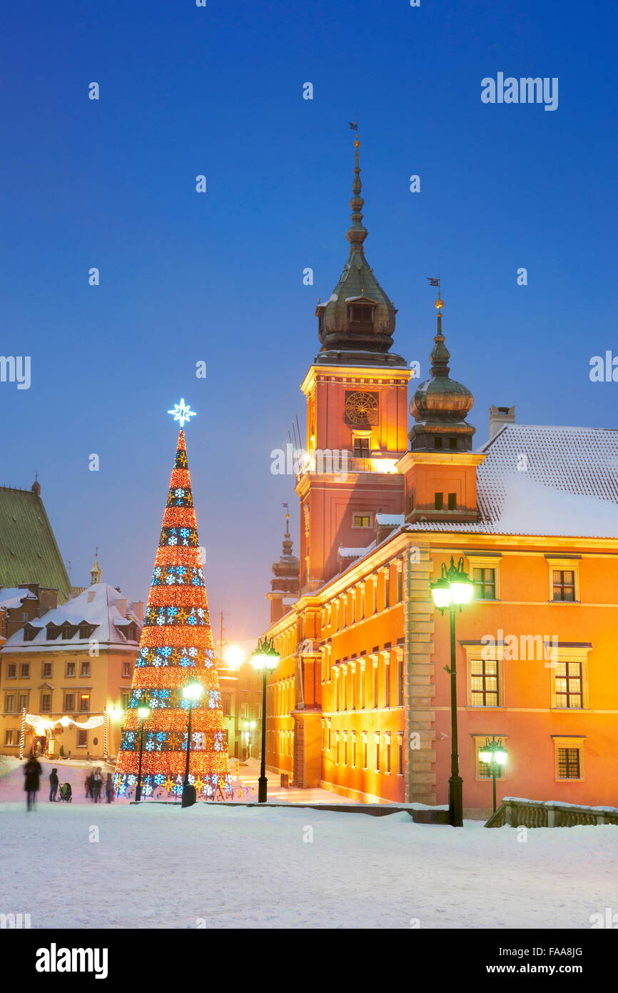 Christmas tree outdoors, Castle Square, Warsaw Capital City, Poland - Stock Image