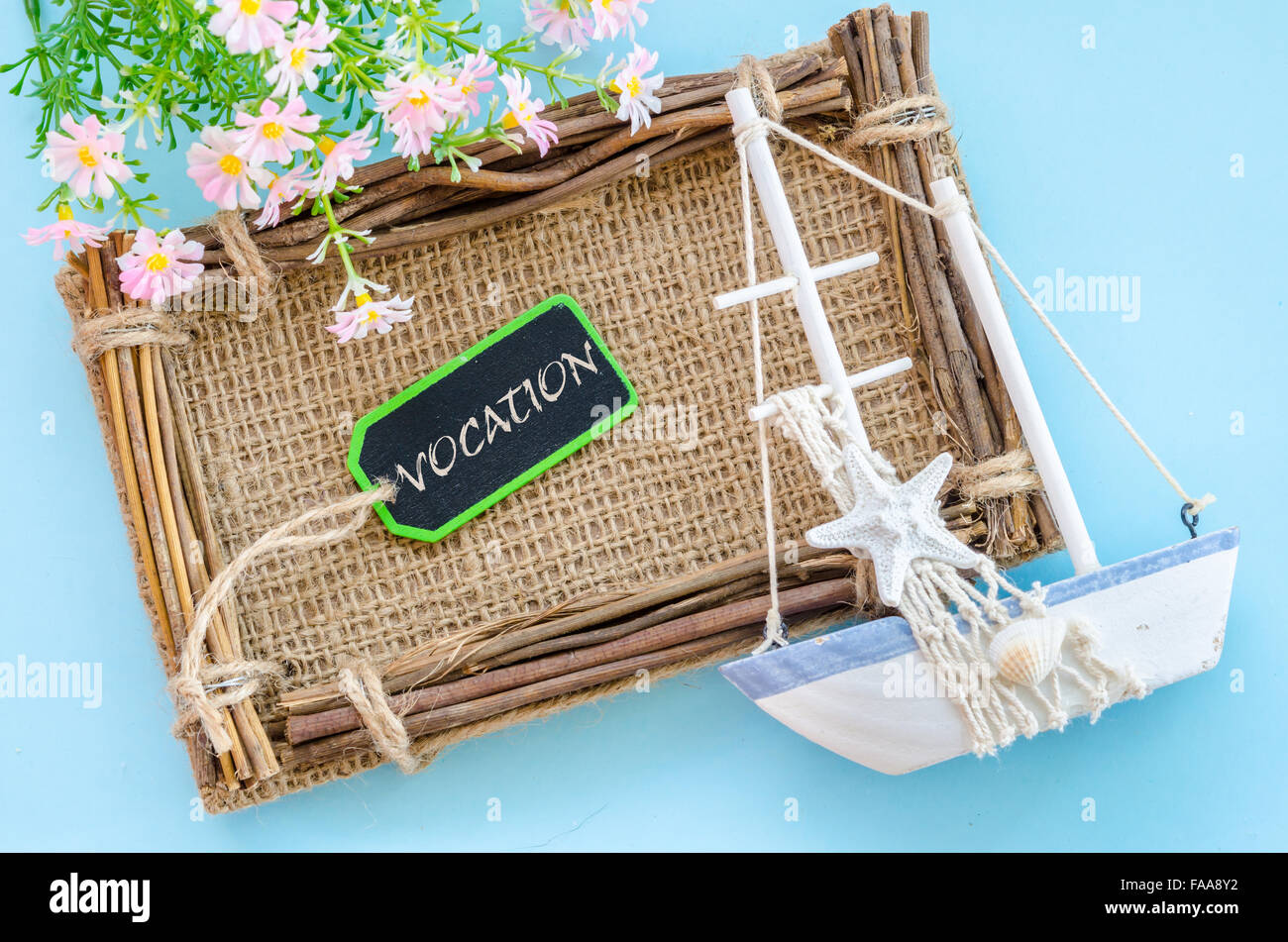 Vocation wording tag with decoration on blue background. - Stock Image