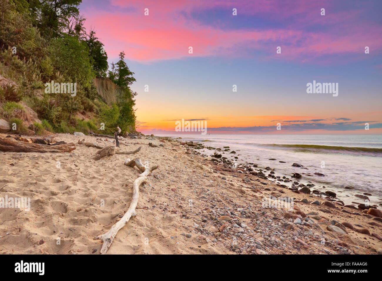 Orlowski Cliff, Baltic Sea at sunset, Gdynia, Pomerania, Poland Stock Photo