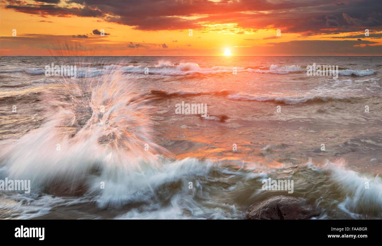 Baltic Sea landscapes at sunset time, Pomerania, Poland - Stock Image
